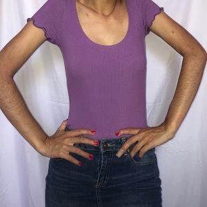 Scoop neck Purple bodysuit